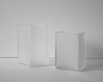 Handblown Piece Work Frosted Glass Vase Pair Two Sizes Rectangular Square Glass Vase White Candle Holder