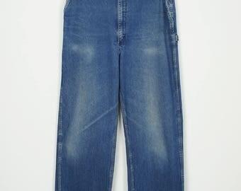 Vintage OshKosh Union Made Sanforized Indigo Denim Work Pants size 33 x 35