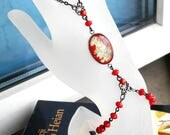Hand Bracelet Panja Bracelet Siam Red and Gold Bohemian Slave Bracelet Chain Ring Bracelet Boho Hand Flower