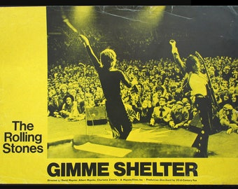 GIMME SHELTER original 1971 lobby card Rolling Stones onstage at Altamont