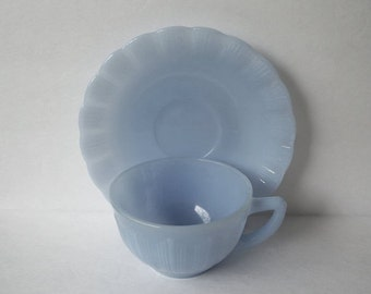 Vintage Delphite Cup & Saucer Blue Pyrex Made in Canada Pie Crust King's Crown Pattern