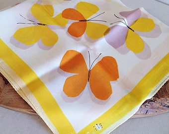 Vintage Vera Neumann Yellow Butterfly Scarf