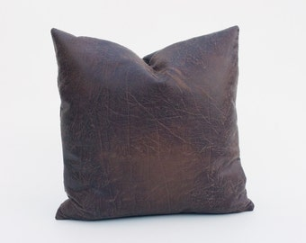 Distressed Brown Faux Leather Decorative Pillow Cover - Coffee