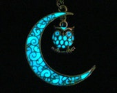 Moon And Owl Necklace Glow In The Dark Moon Owl Jewelry Glowing Owl And Moon Necklace Antique Silver (glows aqua blue)