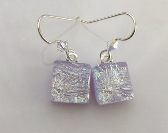 Dichroic Starburst Earrings, Fused Glass Jewelry, Lavender Swarovski Crystal French Hook Earrings