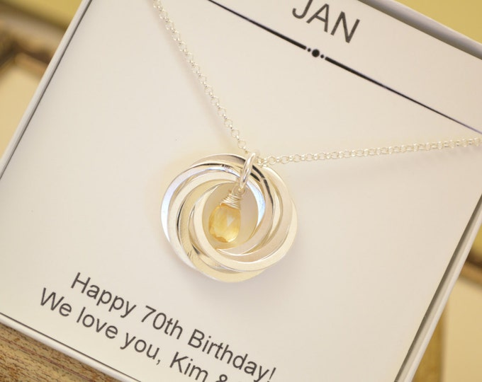 70th Birthday gift for mom, 7th Anniversary gift for her, Citrine  jewellery, November necklace, Gift for mom and grand mother necklace