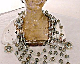 Lovely Vintage Art Deco Glass Hand Beaded Graduated Five Strand Necklace And Clip Earrings