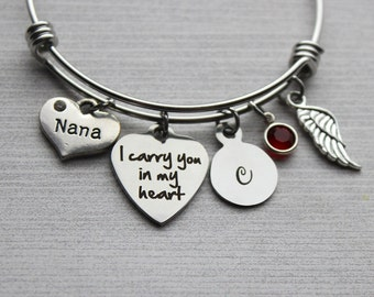 Nana - I Carry You In My Heart Bracelet, Nana Memorial, Nana Sympathy, Nana Loss, Nana Loss Jewelry, Memorial Jewelry, Sympathy Nana, Gifts