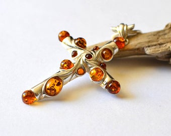 Amber Cross Necklace, Amber Pendant Cross, Silver Amber Necklace, Amber Jewelry, Big Amber Cross Pendant Necklace