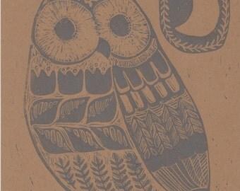 Owl and the Moon Hand Printed Lino Print