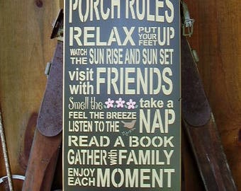 Porch Rules , Porch, Handmade, Subway, Word Art, Porch Decor, Wood Sign