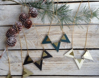 Geometric Necklace-Triangle necklace-Laser Cut Wood and Brass- Triangle Jewellery- Geometric Jewellery- Gifts for Her Gift for Women - black