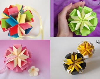 Christmas ornament - Choose color! - Origami paper ball - Modern Christmas ornament - Christmas Gift -Winter Holidays decoration -home decor