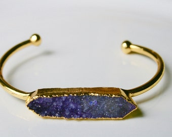 Gold Dipped Purple Druzy Bar Cuff Bracelet