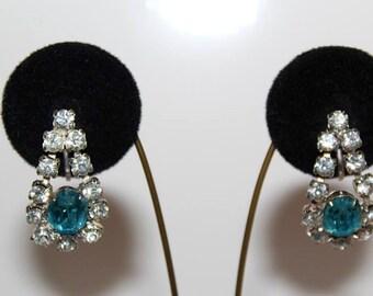 SALE! Vintage Dazzling Aquamarine Blue Rhinestone Crystal Diamante Earrings E20