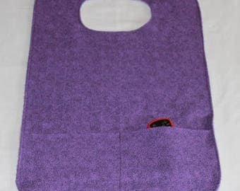 Adult Bib with Double Pockets, Xtra Long Xtra Wide Adult Bib/Clothing Protector, Bib for women, Purple Bib
