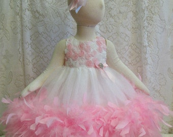 6 - 9 mo. White & Cotton Candy Pink Rosette Feather Dress with Matching Headband, Baby Girl Pageant Dress, Easter Dress, Ready to Ship!