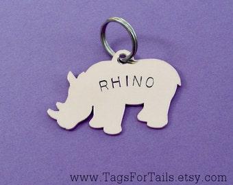Rhino Pet ID Tag- Handmade - Copper Nickel or Brass - Personalize - Unique Rhinoceros Dog Tag