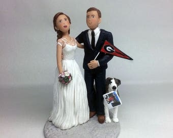 Custom Wedding Cake Topper of Bride Groom and Dog from your Ideas and Photos