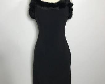 REDUCED Vintage 1990s Designer Moschino Black Fur Neckline Dress, UK 14