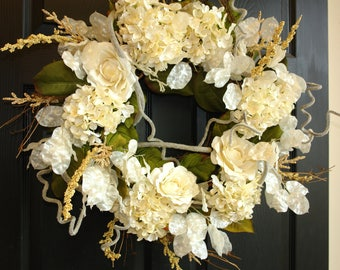 Spring Wreath Ivory White Large Wedding Wreaths For Front Door Wreaths  Handmade Front Door Decorations Outdoor