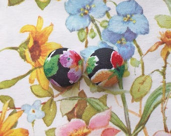 Fabric Covered Button Earrings / Wholesale Jewelry / Bold Floral Print / Stud Earrings / Gift Ideas / Made in NYC / Resale Stock