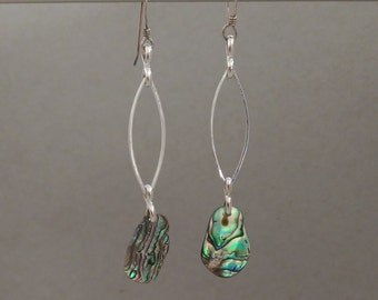 Abalone Dangle Earring. Sterling Silver Hook. Abalone Shell, Silver Plated Chain. Nickel Free.. Great Gift for Mom, Teen, Wife, Girlfriend