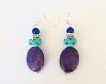 Mohave Purple earrings - purple Turquoise earrings, Kingman turquoise jewelry - Turquoise dangles - genuine Turquoise jewelry