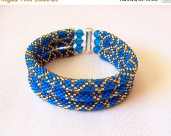 15% SALE 3 Strand Bead Crochet Rope Bracelet in blue and gold - beaded jewelry - Beadwork bracelet - seed beads bracelet - modern bracelet
