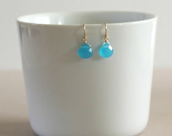Blue Dangle Earrings-Blue Quartz Teardrop Earrings-Vibrant Blue and Gold-Sky Blue Briolettes-Something Blue-Gifts Under 30