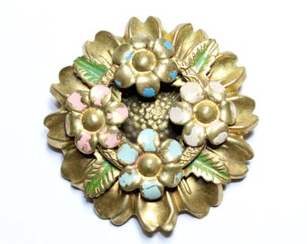 Sunflower Flowers Wreath Painted Brass Gold Coloured Vintage Brooch (c1930s)