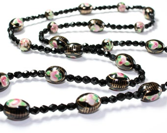 Long Hand Painted Pink Green Flowers Black Faceted Beads Vintage Necklace (c1950s)