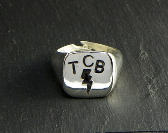 Elvis Presley Ring TCB , Sterling silver 925 - made in Italy