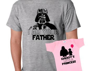 i am your Father - Daddy's little Princess Star Wars Father's Day Gift Set dad and daughter baby one piece bodysuit Tshirt matching set