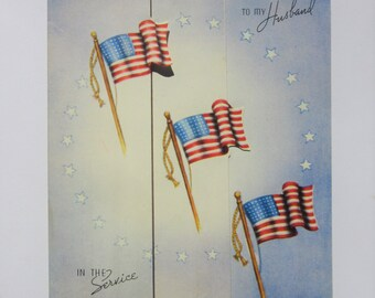 Vintage Unused Military Greeting Card To My Husband in the Service Featuring American Flags, Patriotic Colors, and a Sweet Message Americana