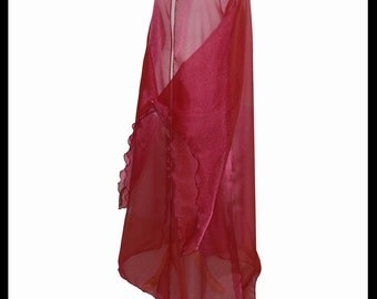 Beautiful Maroon Burgundy Shimmer Organza Cloak with Sleeves. Ideal for a Wedding, Handfasting or Medieval Event. Made Especially For You.