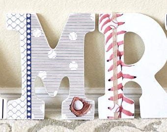 Sport themed Nursery Baby Boy Name, Wooden Wall Letters,Baseball, Personalized Baby Gift,