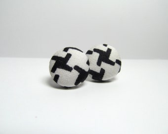 Penny Fabric Button Earrings