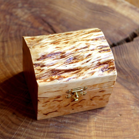 Small Wooden Box, Wedding Ring Box, Birch Box, Exotic Wood, Karelian Birch, Trinket Box, Jewelry Box, Gift for Her, Gift for Wife