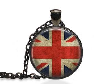 British Flag Necklace, Union Jack Jewelry, United Kingdom Pendant [A28]