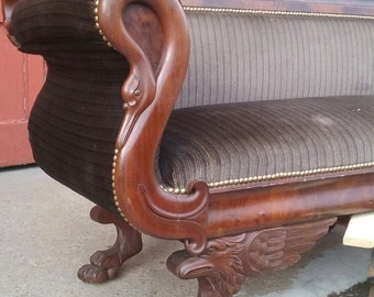 Philadelphia Classical Sofa, swan arms, griffin base c1815