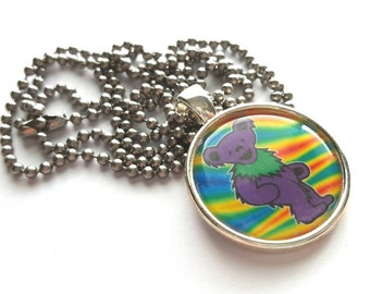 Dancing Bear Silver Tray Necklace with Stainless Steel Ball Chain - Grateful Dead - hippie - music
