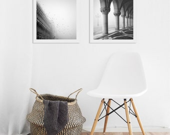 Print set of 2 art prints, Gift for Her, Under 50, Black and White photography Diptych, Italy, Venice Architecture, Housewarming Gift