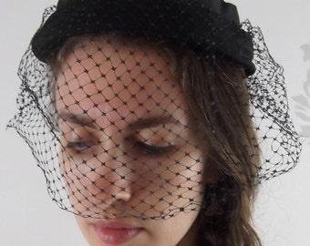 VINTAGE HAT BLACK 1950's Veiling Ribbon