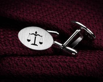 Lawyer gift - Lawyer Cufflinks Sterling Silver – Iustitia Cufflinks – Scales of Justice – Law Cufflinks