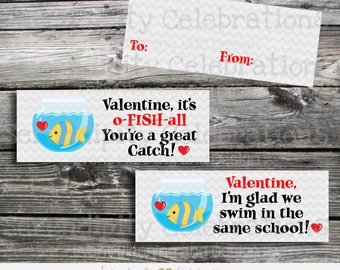Goldfish Valentine Bag Topper, Valentine Bag Topper, Instant Download, School Treat, Classroom, Teacher Valentines, Goldfish Toppers