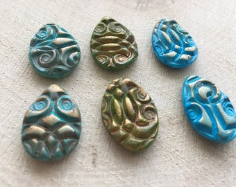 Teardrop beads, Handmade polymer clay beads, Textured beads, Tribal earring connectors, Orient design style, art to wear, Fimo jewelry