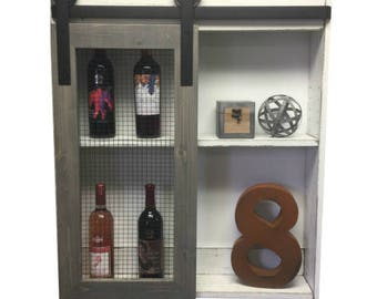 Rustic Liquor Cabinet-Liquor Cabinet-Wine Storage-Industrial Liquor-Home Bar-Rustic Cabinet-Country Kitchen-Wall-Wine Rack-wall cabinet