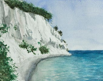 "Cliff Painting, Fine Art Print of Original Watercolour A3 11,69"" x 16,53"" - ""Mons Klint, Denmark"""