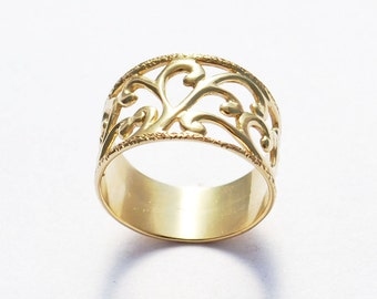 Unique Anniversary Ring, Unique Anniversary Gift For Her, Unique Promise Ring, Unique Gold Plated Ring, Textured Gold Ring, Wide Band Ring